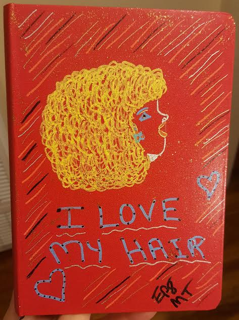 I love My Blonde Hair Drawn on red