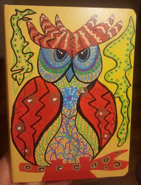 Owl #4 Red on Yellow